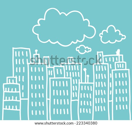 Simple doodle of a big city with clouds above - stock vector