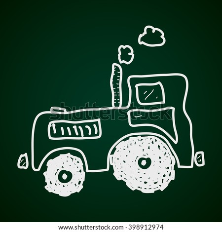 Simple doodle of a hand drawn tractor