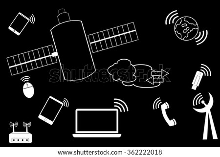 simple doodle Telecommunication Signal at black background  - stock vector