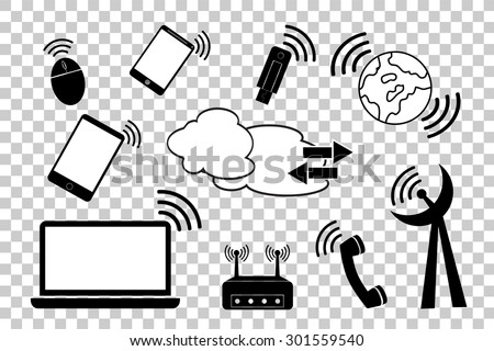 simple doodle Telecommunication Signal at transparent effect background  - stock vector