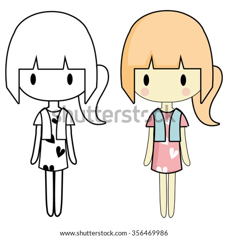 Simple Drawing Girl Image Different Characters Stock ...