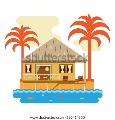 Simple Drawing Of Wooden Bungalow With Palms Isolated On White Background
