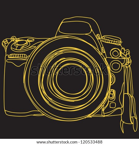 Simple DSLR. camera : EPS. 10 Vector - stock vector