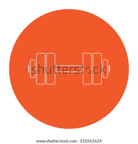 Simple Dumbbell. Flat outline white pictogram in the orange circle. Vector illustration icon - stock vector