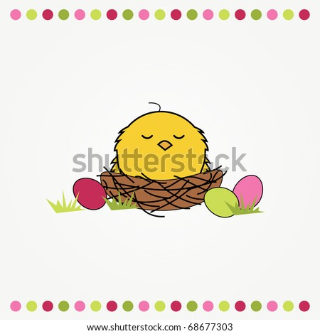 simple easter card illustration of a funny cartoon nest  with eggs and chicken