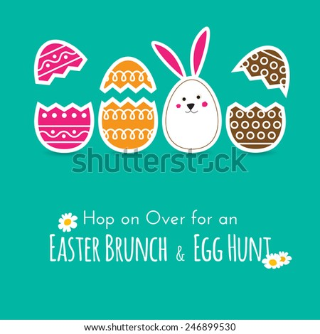 Simple Easter wishing card with cracked eggs and bunny in flat design in vector - stock vector