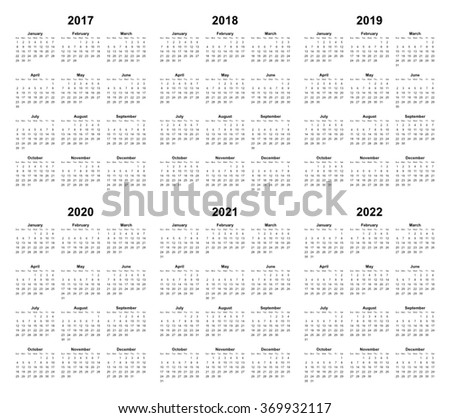 simple editable vector calendar 2017 2018 2019 2020 2021 2022
