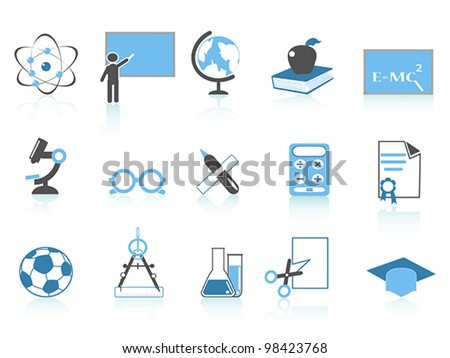 simple education icon blue series - stock vector
