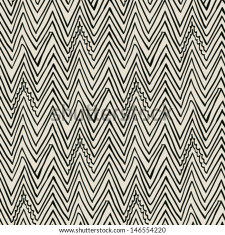 Simple, elegant linear seamless vector pattern with zigzag lines in black and white. Texture in hipster style for web, print, wallpaper, fall fashion fabric, textile, website or invitation background - stock vector