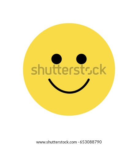 Simple Emoticon Smiley Face Yellow Smiling Stock Vector 653088790