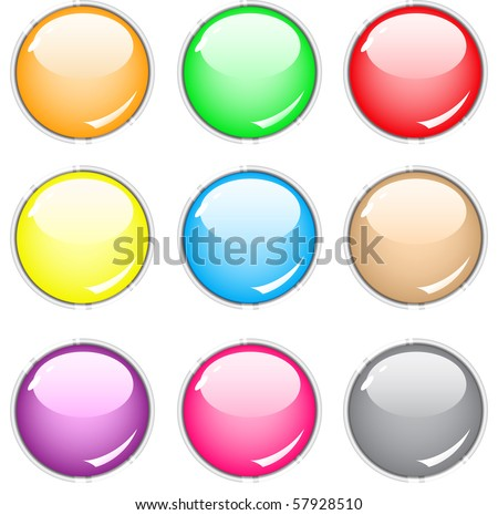 Simple empty buttons of different colors. Vector.