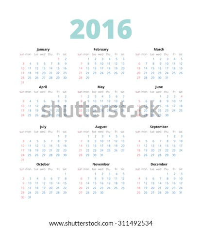 Simple european calender 2016 on White Background. Week Starts Monday.  - stock vector