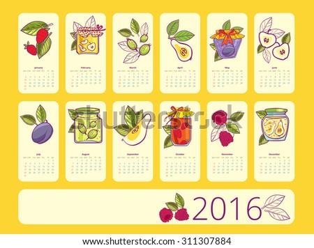 Simple european 2016 calender. Week Starts Monday.  - stock vector