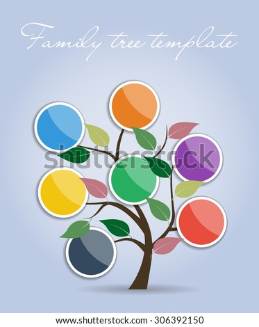 Simple Family tree template. Vector illustration.  - stock vector