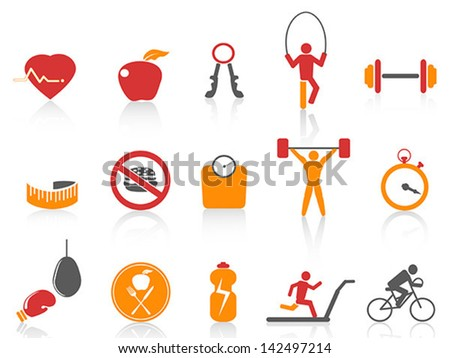 simple fitness icons set,orange color series - stock vector