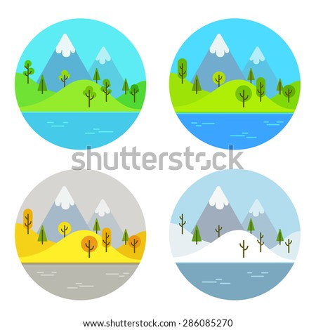 Simple flat cartoon landscape scene in four different seasons of the year. - stock vector