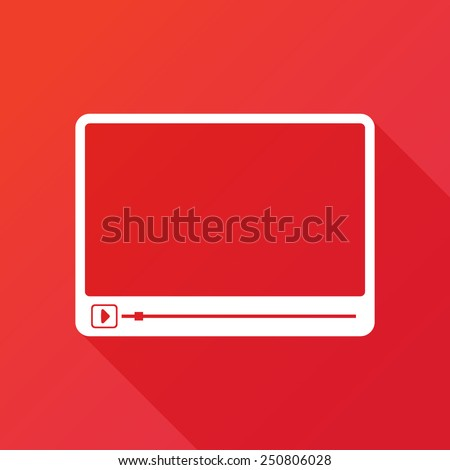Simple Flat clean video player for web and mobile apps. Vector illustration flat design with long shadow - stock vector