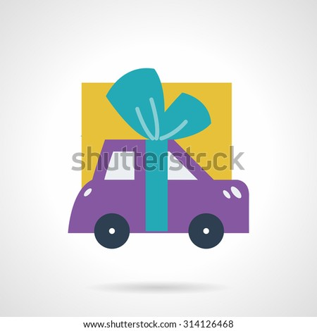 Simple flat color vector icon for purple car with blue bow as gift. Promotions, sale, insurance concept. Design elements for business and website - stock vector