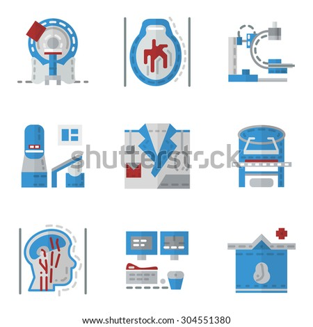 Simple flat color vector icons for medical research. MRI, CT scan, MRI equipment, brain imaging and other elements for your website - stock vector
