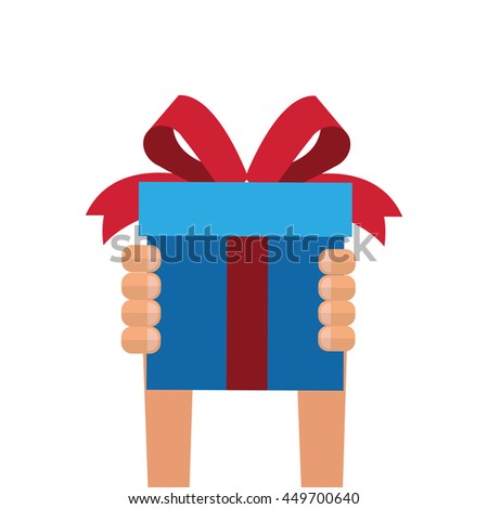 simple flat design gift box with bow and heart shape balloon icon vector illustration - stock vector
