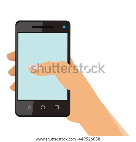 simple flat design hand holding cellphone icon vector illustration