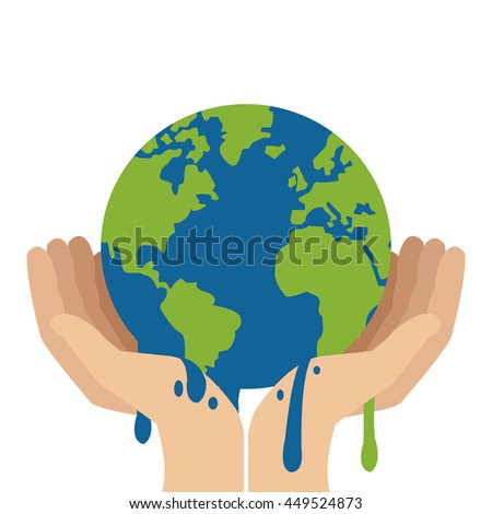 simple flat design hands holding planet earth melting icon vector illustration