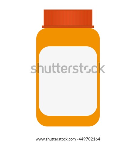 simple flat design orange medicine bottle icon vector illustration