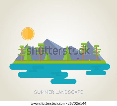 Simple, flat illustration of summer landscape. Mountains, lake, fir-trees, flowers and bright sun. - stock vector