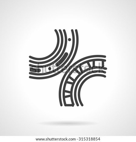 Simple flat line style vector icon for bearings mechanism. Roller and ball bearing, spare parts, details. Web design element for business. - stock vector
