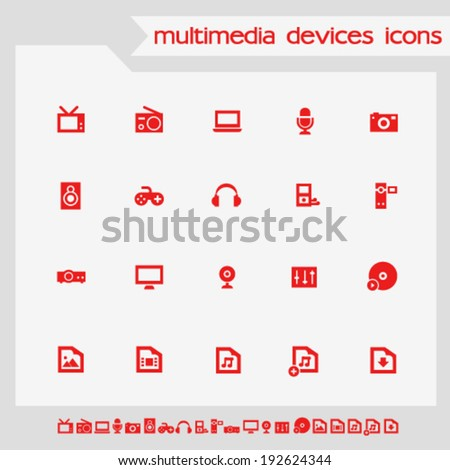 Simple flat multimedia red icons - stock vector