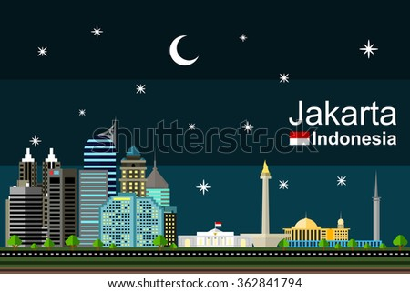 Simple flat-style illustration of capital of Indonesia, Jakarta, and its landmarks at night. Famous buildings included such as Istana Negara, Monas, Istiqlal mosque, Wisma 46, and The Peak apartment. - stock vector