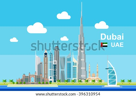 Simple flat-style illustration of Dubai city in United Arab Emirates and its landmarks. Famous buildings included such as Burj Khalifa, Burj Al Arab, Dubai Atlantis, and cities notable tall buildings. - stock vector