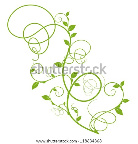 simple floral design, green silhouette for decorative background over white