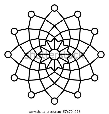 Simple Floral Mandala Pattern Easy Doodle Stock Vector