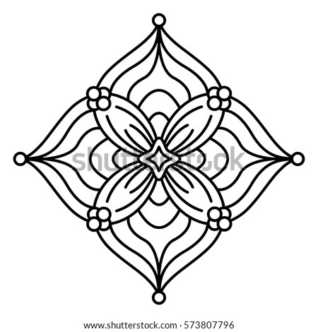 Simple Floral Mandala Pattern Coloring Book Stock Vector HD Royalty