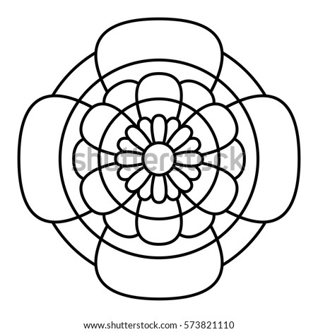 Simple Floral Mandala Pattern Coloring Book Stock Vector 2018