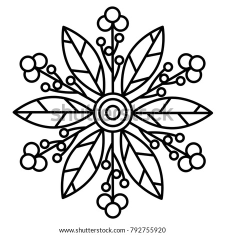simple floral mandala print easy coloring stock vector 792755920