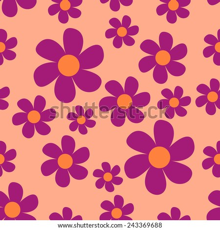 Simple floral pattern. Pink flowers. Vector. - stock vector