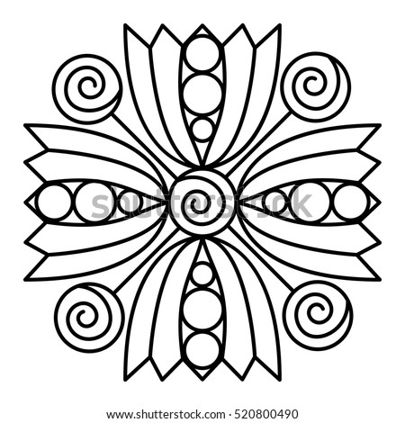 Simple Flower Mandala Pattern Coloring Book Stock Vector (2018 ...