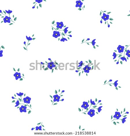 Simple flower pattern. Floral seamless background. Cute invitation design - stock vector