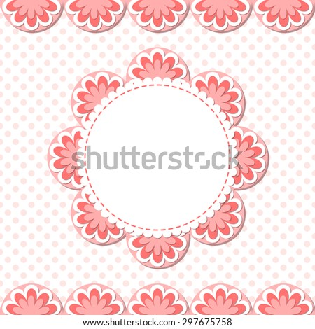 Simple flower photo frame. Cute scrapbook page. Baby shower card. - stock vector