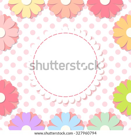 Simple flower photo frame. Cute scrapbook page. Baby shower card with flowers. - stock vector