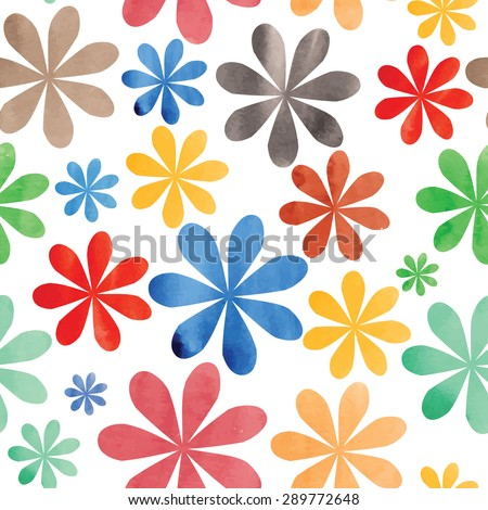 simple flower textured watercolor vector background - stock vector
