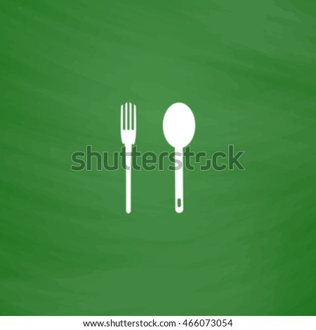 Simple fork and spoon. Flat Icon. Imitation draw with white chalk on green chalkboard. Flat Pictogram and School board background. Vector illustration symbol