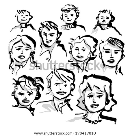 simple freehand drawings of group of people, calligraphic black ink line, simplified, sketchy - stock vector