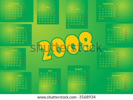 Simple fresh green color calendar for year 2008