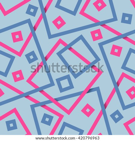 Simple geometric blue and pink seamless squares pattern. Seamless pattern from the squares different sizes.
