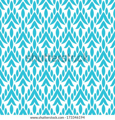 Simple geometric ikat seamless pattern in blue, vector - stock vector