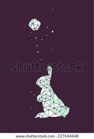 Simple geometric moon rabbit in a starry night. Cold colors, violet and blue, dark background, vector illustration.  - stock vector