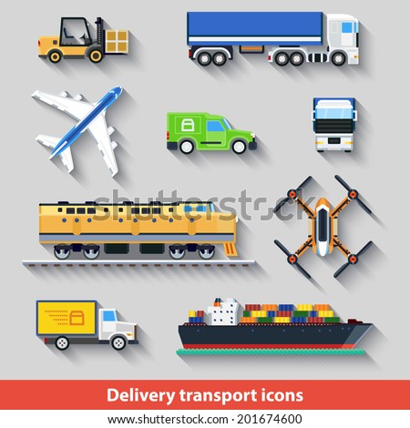 Simple geometrical colored icons with long shadow. Delivery transport icons - stock vector